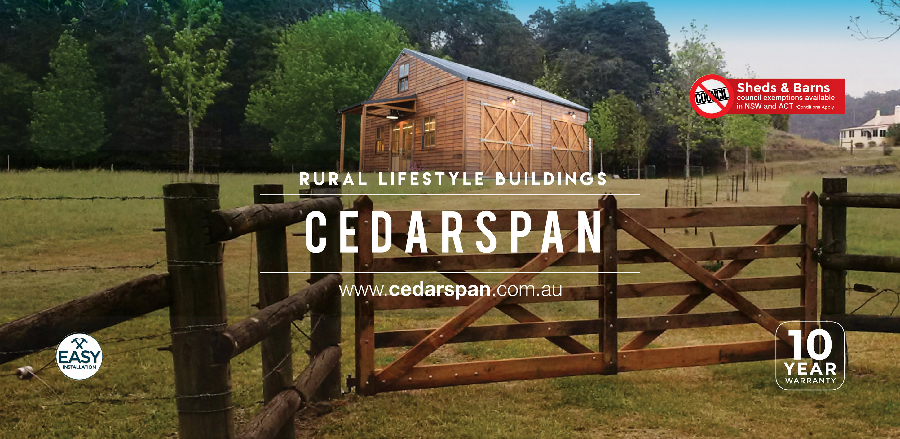 Prefab timber cabin kits cottages and barns cedarspan for Rural home designs nsw
